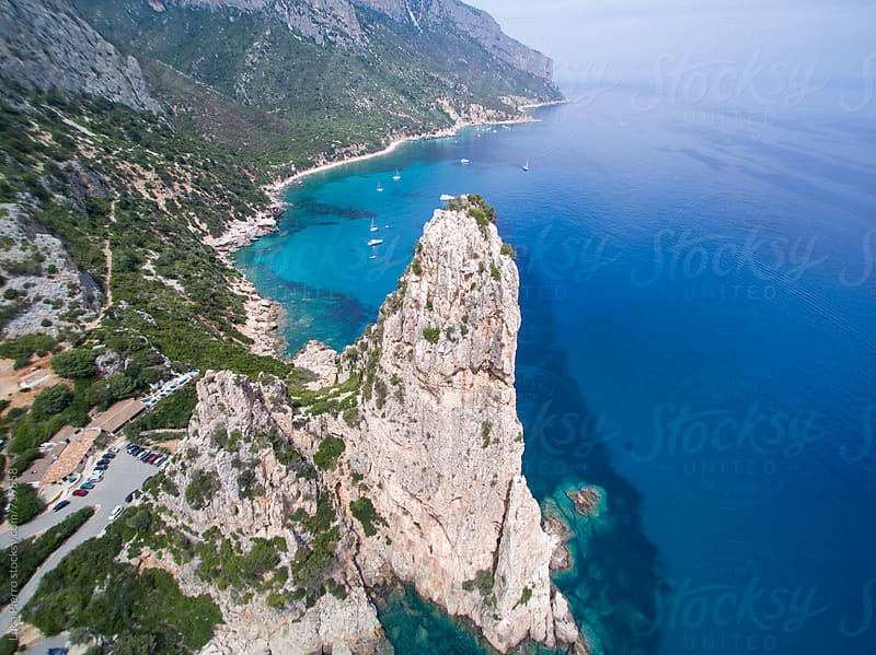 Aerial view of Perda Longa mountain, Sardinia by Luca Pierro for Stocksy United