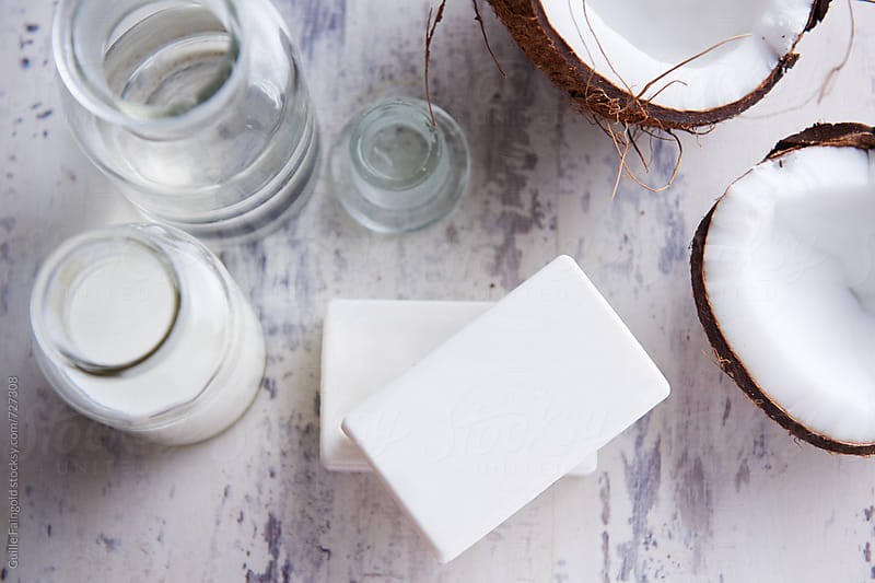 Coconut bar soap, with coconut milk and argan oil by Guille Faingold for Stocksy United