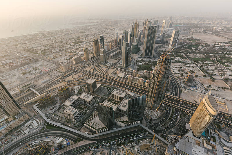 Aerial view of the Burj Dubai, Dubai, UAE by Maa Hoo for Stocksy United