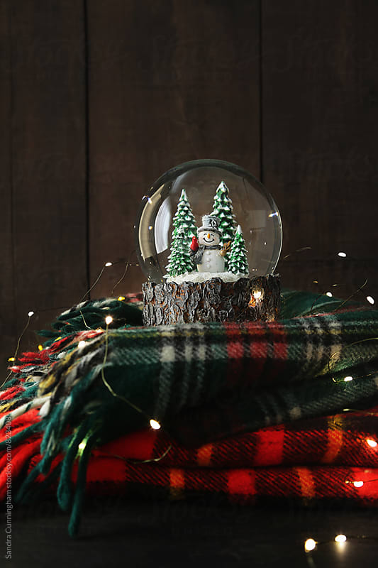 Rustic snow globe on plaid wool blankets by Sandra Cunningham for Stocksy United