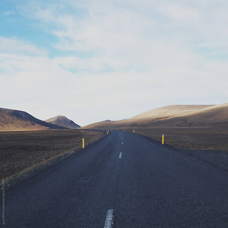 Icelandic road in autumn by Luca Pierro for Stocksy United