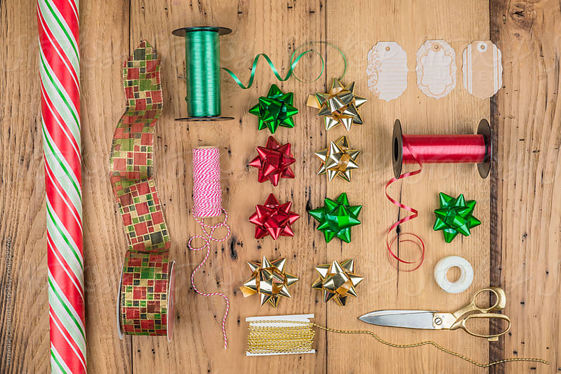 Collection of Christmas Wrapping Paper for Gifts by suzanne clements for Stocksy United