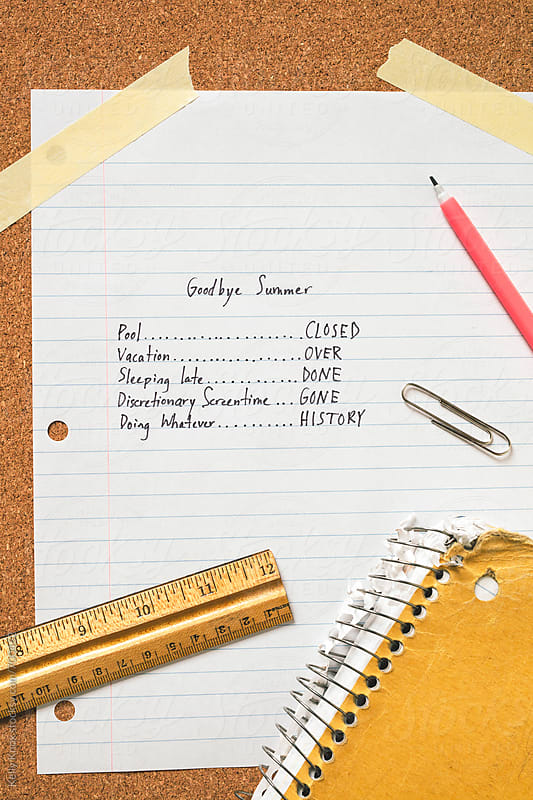 a sad student's list of events that end when summer is over by Kelly Knox for Stocksy United