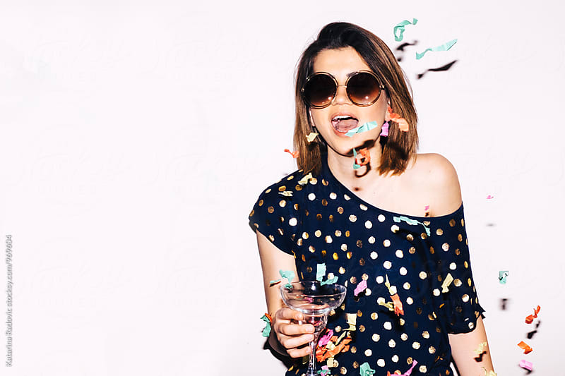 Pretty Party Girl With Glass of Champagne by Katarina Radovic for Stocksy United