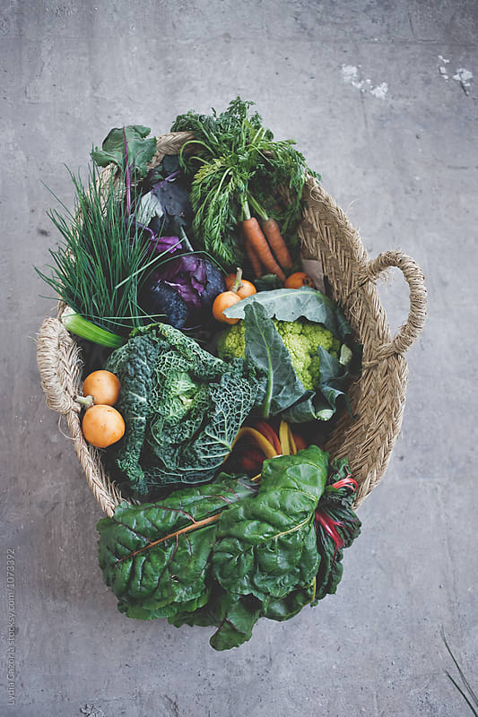 A wicker basket full of vegetables by Lydia Cazorla for Stocksy United