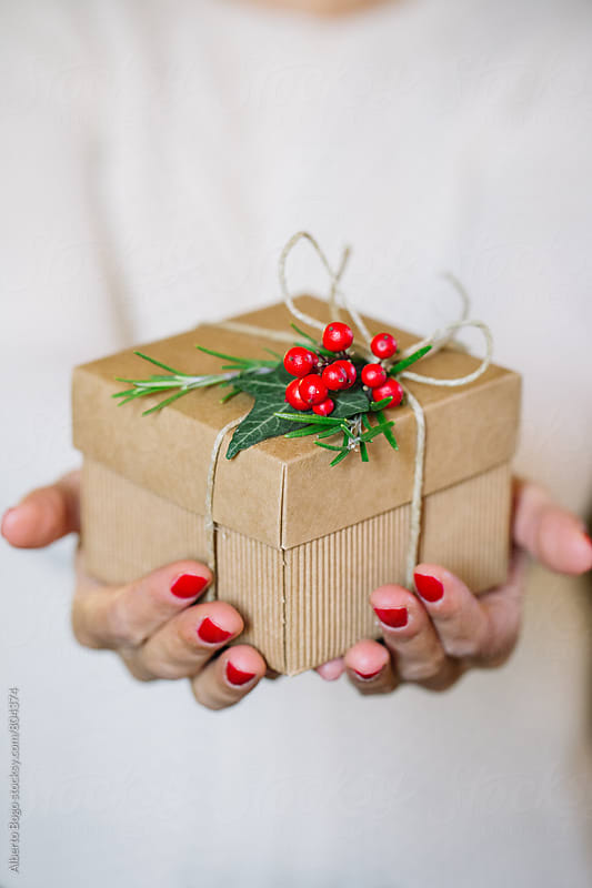 Woman holding homemade wrapped gift by Alberto Bogo for Stocksy United