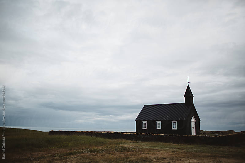 Black and White Church in Budir, Iceland by Rachel Gulotta Photography for Stocksy United