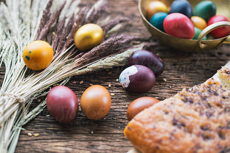 Traditional colorful Easter breakfast by Jovo Jovanovic for Stocksy United