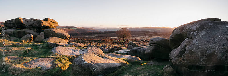 Owler Tor rock formations at sunset. Derbyshire, UK. by Liam Grant for Stocksy United