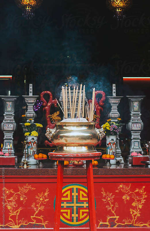 Buddhist Prayer Sticks In Chinese Temple by Alexander Grabchilev for Stocksy United