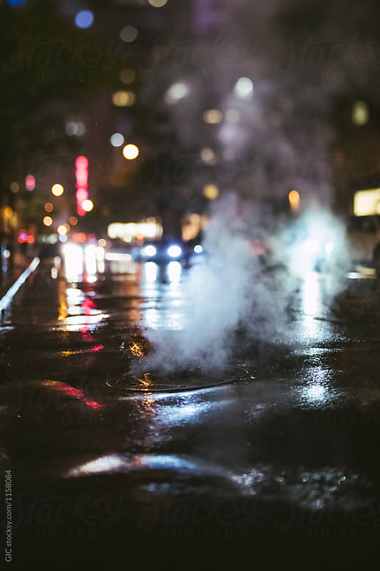 New York street scene at night with rain