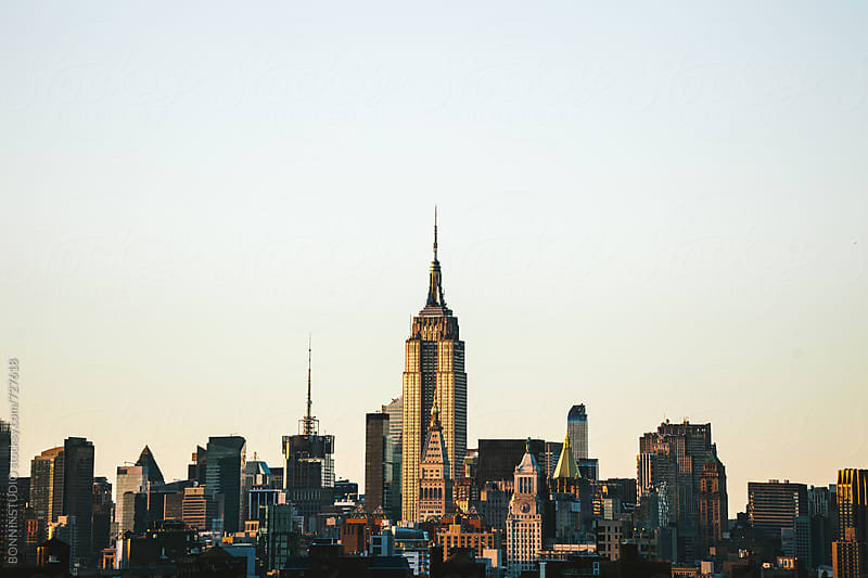 Views of the Empire State building at sunset. by BONNINSTUDIO for Stocksy United