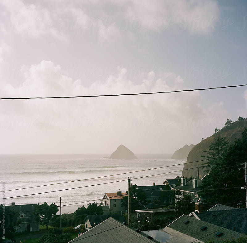 View of Houses and the Ocean from Above by Briana Morrison for Stocksy United