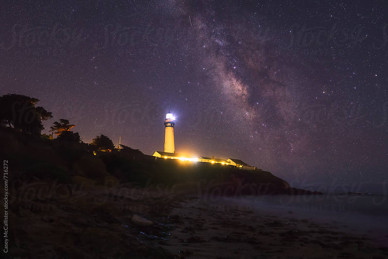 Lighthouse Milky Way by Casey McCallister for Stocksy United