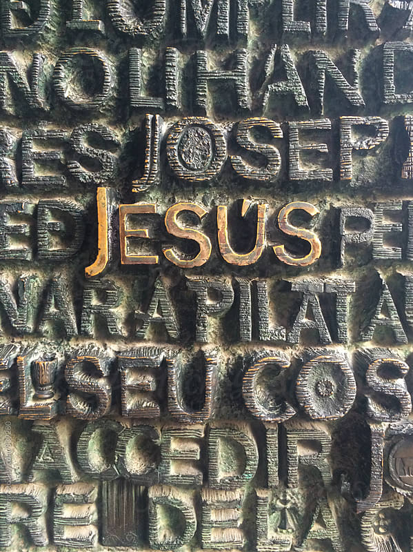 Names from the bible written on a Christian church entrance  by Jovo Jovanovic for Stocksy United