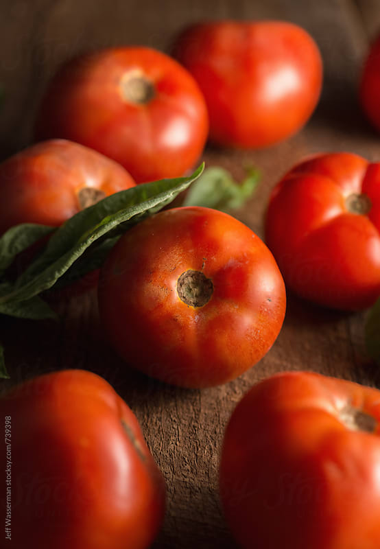 Tomato Still Life With Basil  by Jeff Wasserman for Stocksy United