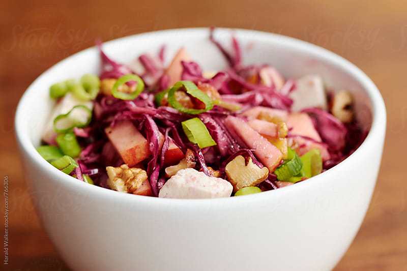 Red Cabbage Waldorf with Golden Raisins and Tofu Feta by Harald Walker for Stocksy United