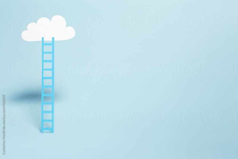 blue ladder, blue sky, white cloud... by Catherine MacBride for Stocksy United