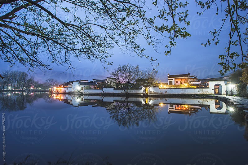 Hongcun in the night,Anhui province,China by zheng long for Stocksy United