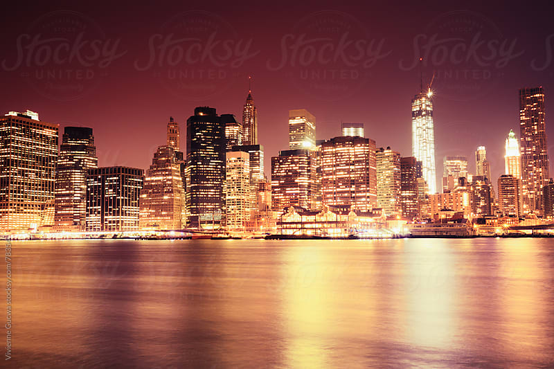 New York City Skyline - Night Cityscape by Vivienne Gucwa for Stocksy United