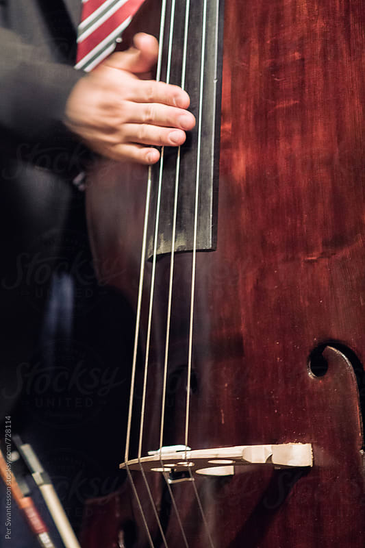 Closeup of musicians hand playing the double bass by Per Swantesson for Stocksy United