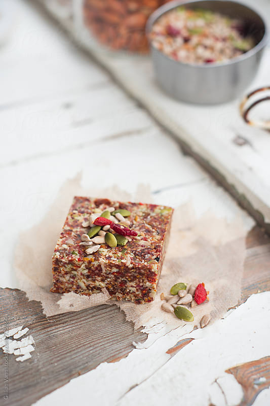 vegan raw gluten free nut slice by Gillian Vann for Stocksy United