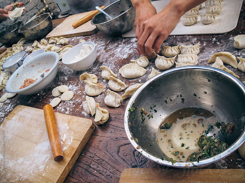The making of Jiaozi in China by Shelly Perry for Stocksy United