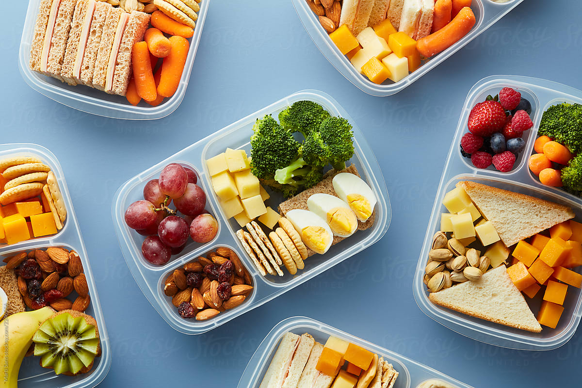 Stock Photo Open Lunch Boxes With Healthy Food