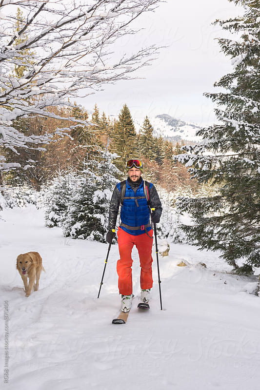 Man ski touring in the wilderness by RG&B Images for Stocksy United