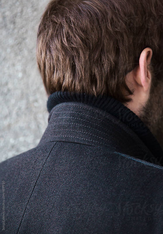 man coat and hair closeup from the back by Sonja Lekovic for Stocksy United