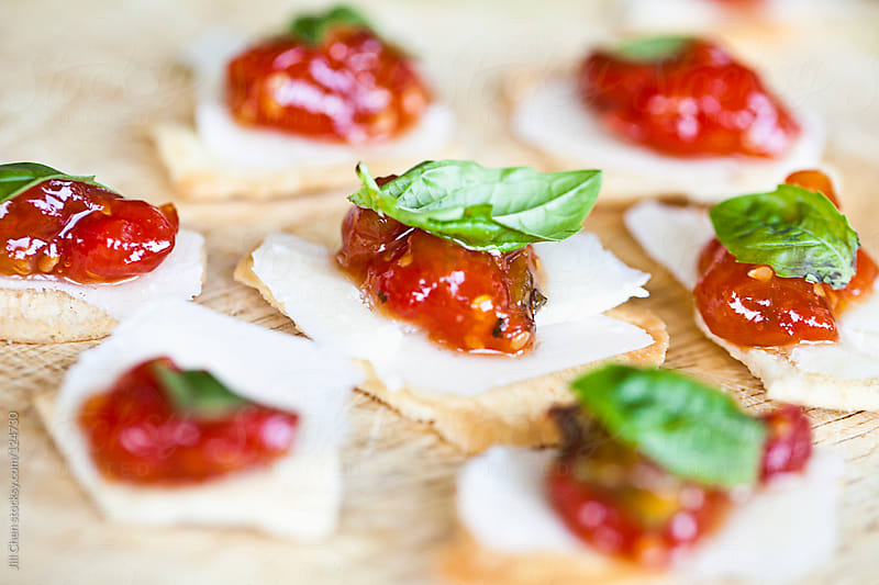 Tomato Basil Jam Appetizers by Jill Chen for Stocksy United
