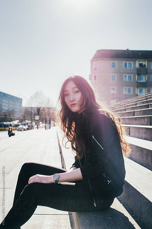 Berlin Street Style - Cool Mongolian Girl Wearing Black -9176