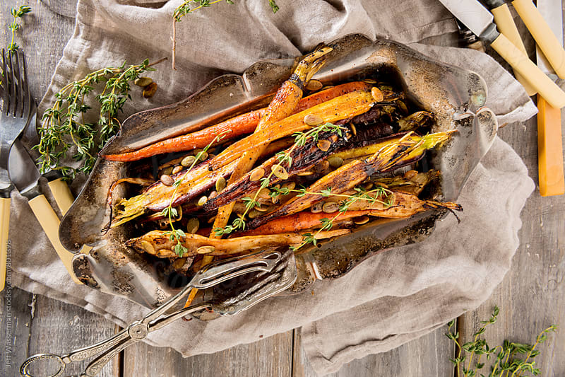 Roasted Heirloom Carrots in Balsamic Reduction by Jeff Wasserman for Stocksy United
