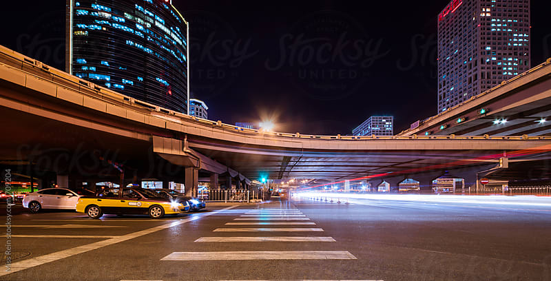 Night in Beijng CBD by Miss Rein for Stocksy United
