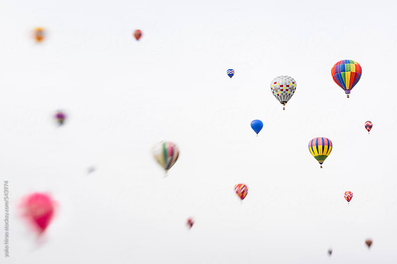 Colorful hot air balloon icons on white by yuko hirao for Stocksy United