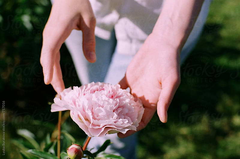 Woman touches a peony by Lyuba Burakova for Stocksy United