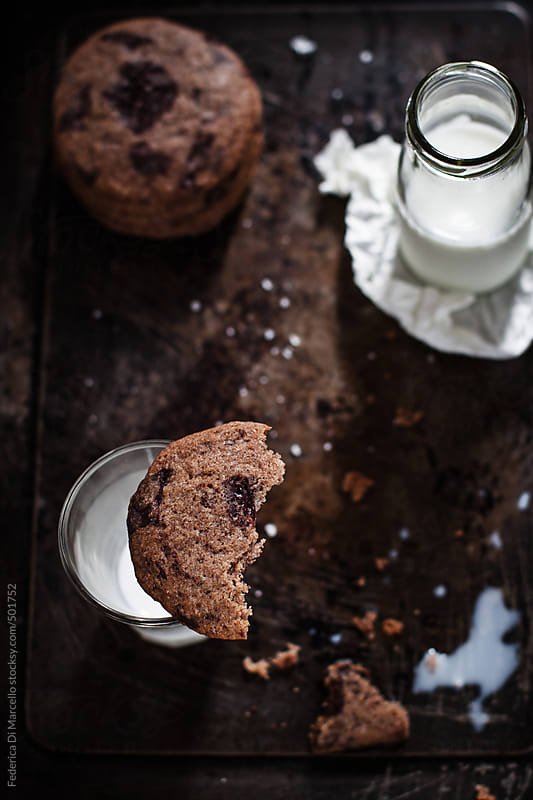 Chocolate chip cookies with fleur de sal by Federica Di Marcello for Stocksy United