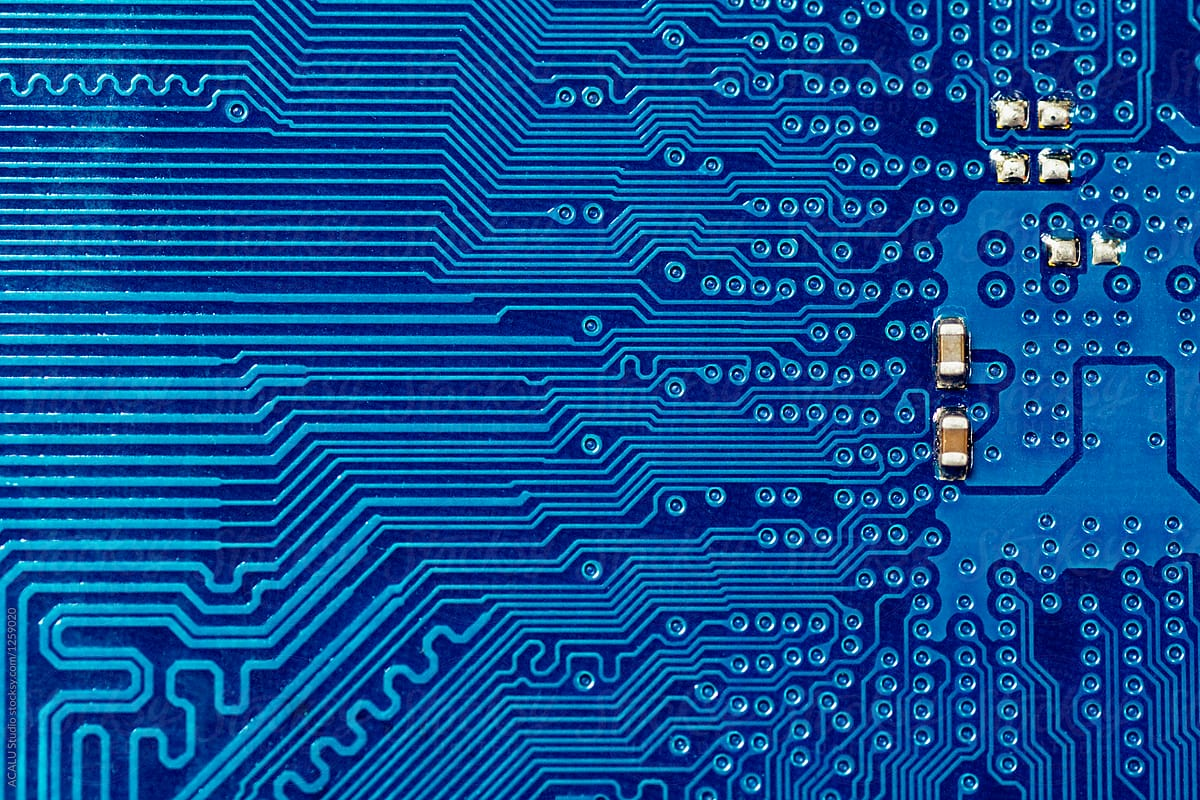 Abstract Background With Old Computer Circuit Board Blue Printed Stocksy United By Acalu Studio For