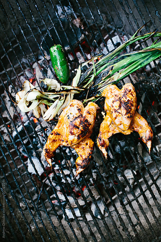quail on grill with onions and jalapeño by Andrew Cebulka for Stocksy United