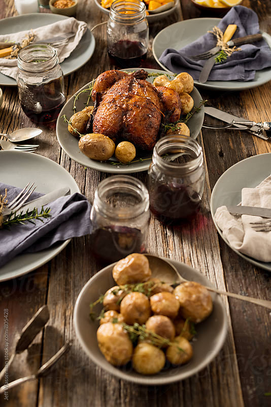 Rustic Roasted Chicken Dinner by Studio Six for Stocksy United