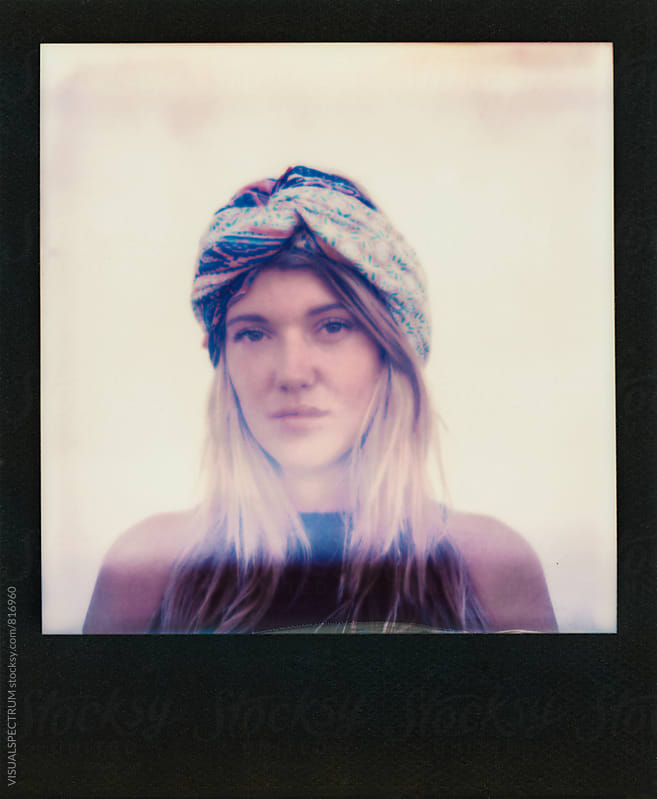 Polaroid of Blond Female Hippie Looking Into Camera by VISUALSPECTRUM for Stocksy United