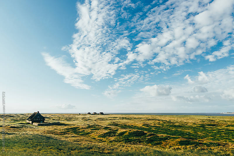 Remote Houses in Typical North Sea Landscape on Sunny Morning (Sylt, Germany) by Julien L. Balmer for Stocksy United