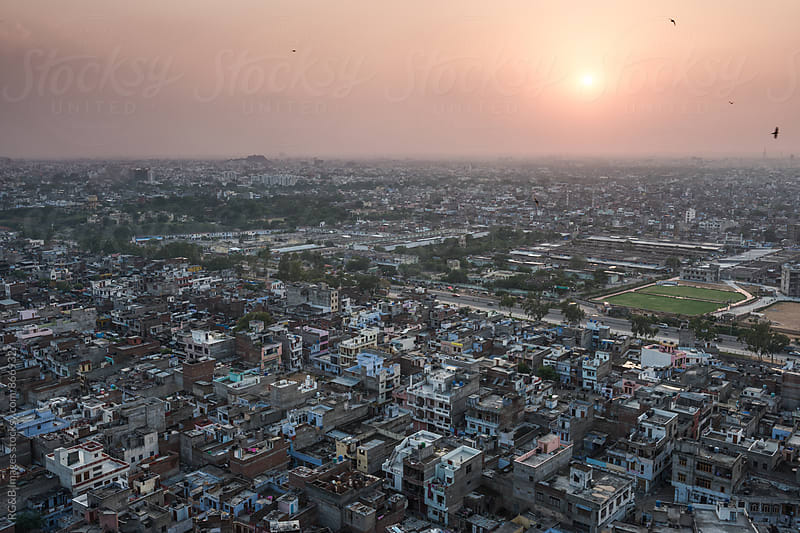 Urban agglomeration of Jaipur city at sunset by RG&B Images for Stocksy United
