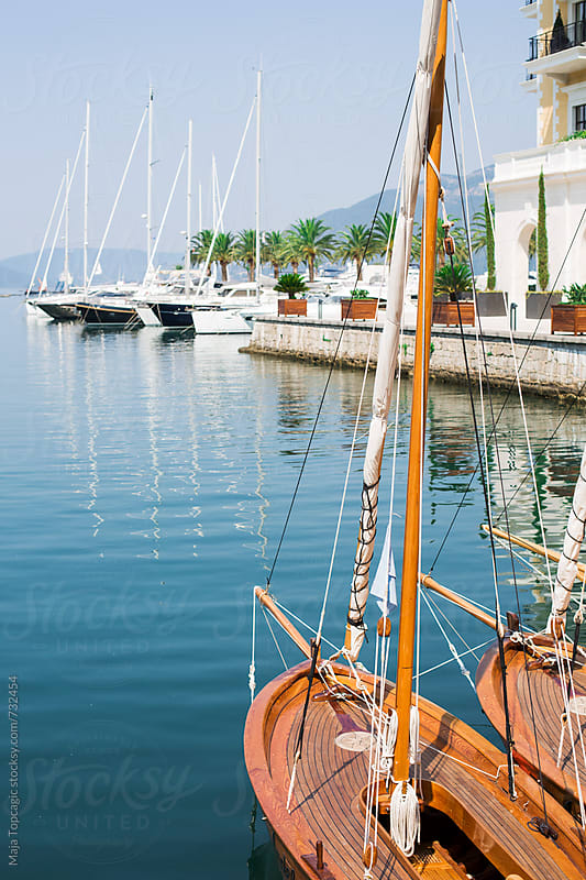 Boats at seaport in Porto Montenegro by Maja Topcagic for Stocksy United