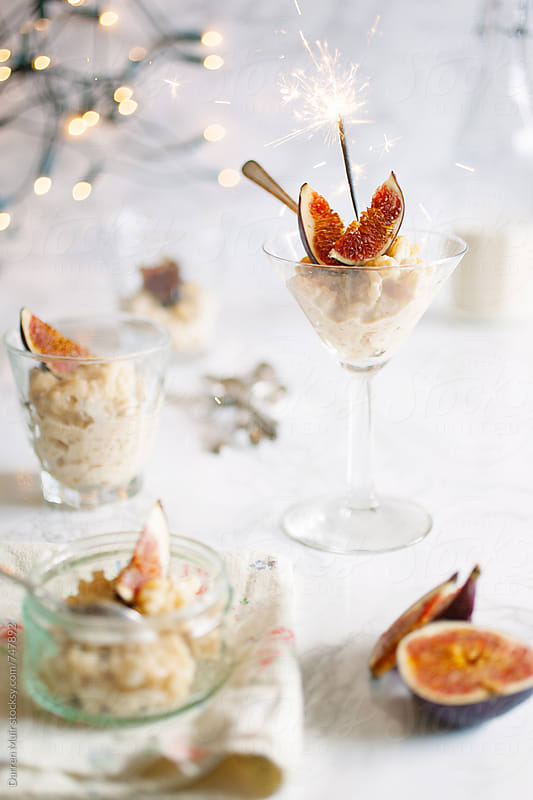 Rice pudding with figs. by Darren Muir for Stocksy United