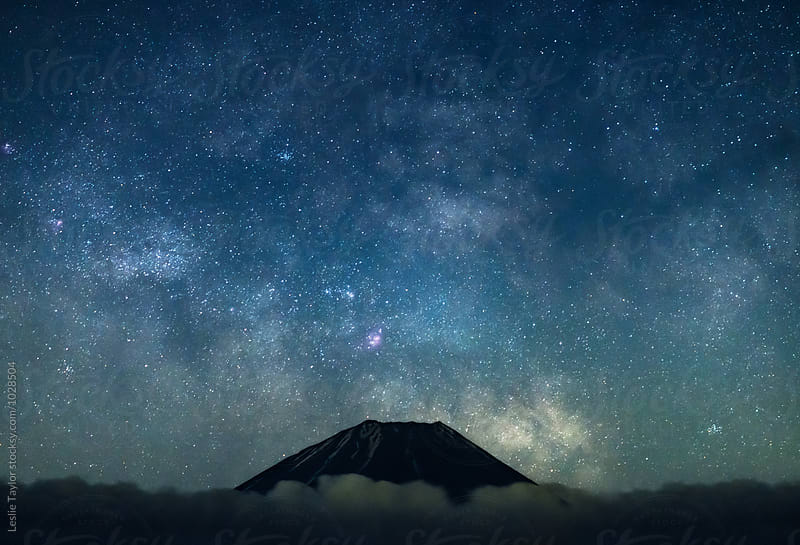 Tip Of Mt Fuji With Milky Way by Leslie Taylor for Stocksy United