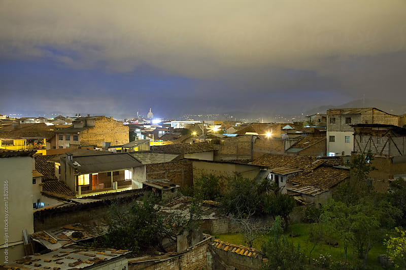 Photo of slums at dusk in Cuenca, Ecuador by Ivo de Bruijn for Stocksy United