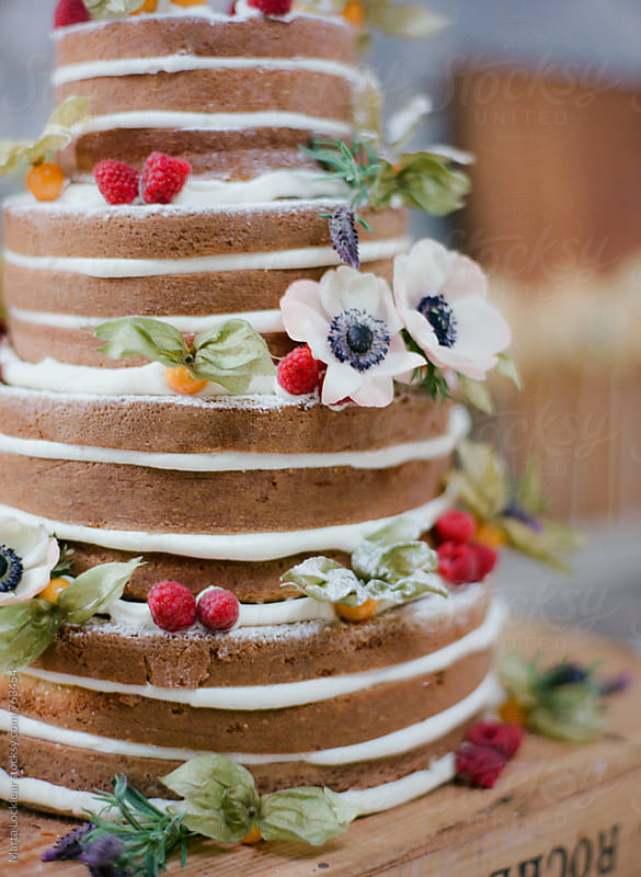 Naked Wedding Cake  by Marta Locklear for Stocksy United