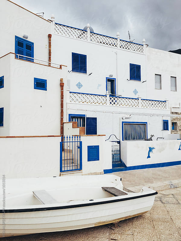White Exteriors of Mediterranean Seaside Homes by VISUALSPECTRUM for Stocksy United