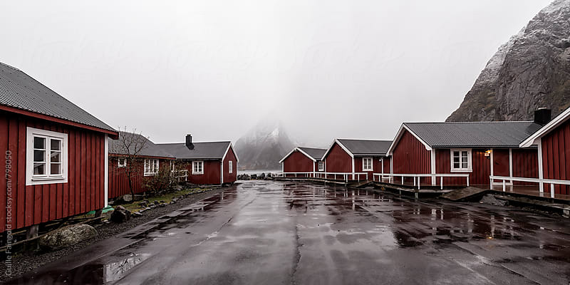 red cabins. Lofoten. Norway by Guille Faingold for Stocksy United